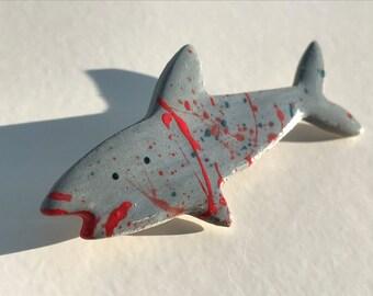 Shark Badge Brooch/pin.Ceramic/Porcelain .Animal badge/animal jewellery.Handmade in Wales,Uk
