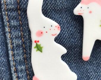 White rabbit Brooch/pin/button/badge.Christmas rabbit badge.Small Gift/Ceramic /Porcelain .Animal Badge/Christmas jewellery.Stocking Filler