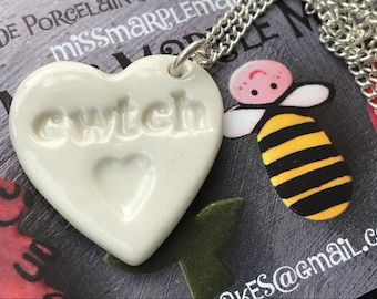 Cwtch Ceramic Heart Pendant.Welsh Hug Love Heart Necklace .Porcelain Heart Pendant .Cwtch/Hug.Gift idea Handmade .Made in Wales,Uk.