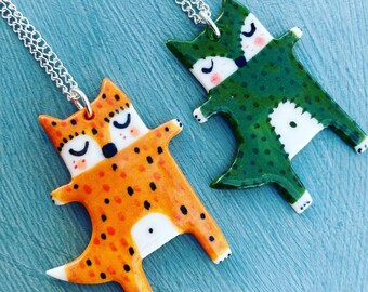Fox Pendant.Porcelain Orange/green Fox Pendant.Fun gift. Quirky gift. Alternative jewellery.Woodland theme.