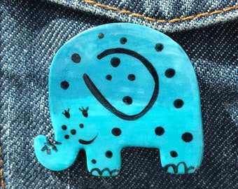 Elephant Brooch/pin/button/badge.Ceramic/Porcelain .Cute Blue Elephant badge.Handmade in Wales ,Uk