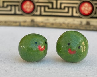 Two Peas in a Pod .Porcelain Peas .2 Mini ceramic green Peas .Cute Romantic gift .Handmade in Wales ,Uk
