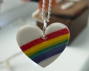 Rainbow heart ceramic pendant necklace.Rainbow heart Pendant.Porcelain Necklace.Romantic gift.Handmade in Wales,Uk.