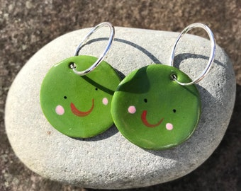 Green Pea earrings.Sterling silver.porcelain pea hoop earrings.Cute fun  gift.Handmade in Wales,UK.