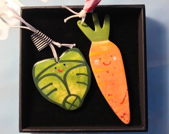 Carrot & Sprout Christmas Decoration.Ceramic Carrot/Brussels Sprout.Tree Decoration/kitsch porcelain Ornament.Handmade.Christmas Dinner