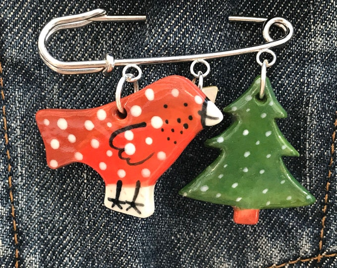 Featured listing image: Robin and Christmas tree Charm Brooch.Christmas Brooch.Christmas Jewellery.Handmade ceramic gift.Porcelain Jewellery .