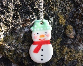 Snowman Ceramic Sterling Silver Pendant.Snowman Necklace .Porcelain Pendant.Christmas Gift idea.Handmade in Wales,Uk
