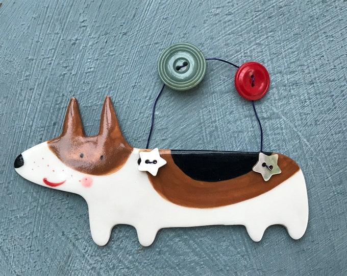Featured listing image: Corgi  Decoration.Hanging Ceramic Decoration/ornament.Christmas Tree Decoration.Dog lover.Corgi dog.Handmade in uk