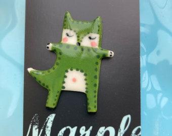 Fox badge.Standing Fox Brooch/pin /button /badge.Ceramic/Porcelain Animal badge/Animal Jewellery Made in Wales,Uk