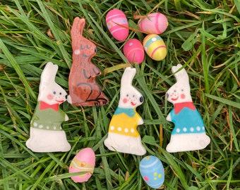 Rabbit Badge/pin/button/badge.Easter Bunny Ceramic badge.Stocking Filler/animal jewellery.Easter gift.Handmade in Wales ,Uk
