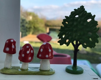 Porcelain Toadstool Ornament .Ceramic mushrooms .Fairy garden toadstools.Handmade in Wales ,Uk