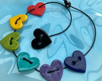 """Rainbow Hearts on black Leather cord Pendant.Rainbow  Choker Necklace .Porcelain Rainbow Heart Pendant.16 """" Black Leather Cord"""