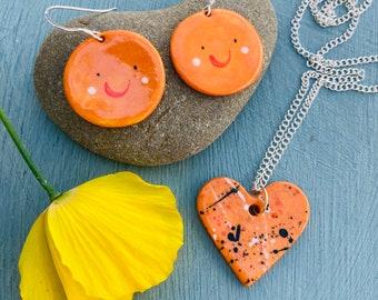 Oranges Earrings and Tangerine Heart Pendant Set. Sterling Silver earrings.Cute fun gift set.Handmade ceramic jewellery.