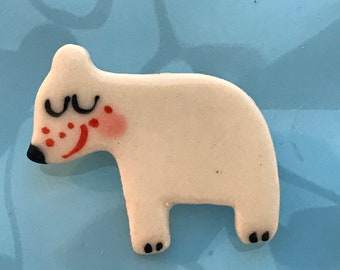 Polar Bear Brooch/pin/button/badge.Christmas Badge l/stocking filler .Gift/Ceramic /Porcelain.Christmas jewellery /animal jewellery.Handmade