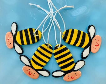 Bee porcelain decoration.Hanging bee Ornament .Gift for child.Christmas tree decoration .Ceramic tree Decoration.