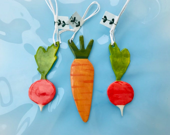 Featured listing image: Carrot and Radishes Decoration set.Ceramic Carrot and radish.Tree Decoration.Porcelain Ornament.Vegetable decoration set.