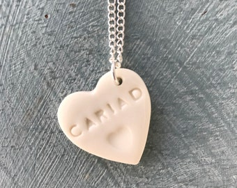 Cariad Ceramic Heart Pendant.Cariad/My Love.Welsh Love Heart Necklace .Porcelain Heart Pendant.Gift idea Handmade .Made in Wales,Uk.