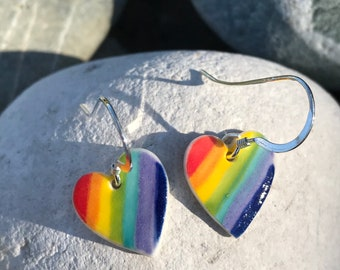 Rainbow heart Drop Earrings/Sterling Silver Dangle heart Earrings/Rainbow Jewellery /Handmade Porcelain Heart Earrings /Made in Wales,Uk