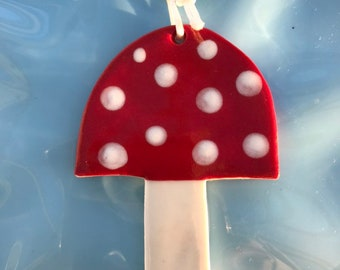 Toadstool Decoration.Hanging Ceramic Decoration/ornament.Christmas Tree Decoration.Woodland Decoration .Handmade in uk