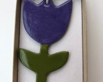 Purple Tulip /Flower/Hanging Ceramic Tulip/Ceramic Decoration/ornament.Easter gift.Porcelain ornament/Made in Wales,Uk