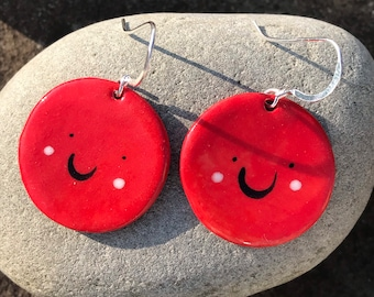 Smiley face drop earrings.Sterling silver drop earrings.Fun jewellery.Quirky jewellery gift.Handmade Porcelain Red/Orange disc earrings