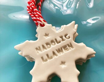 Nadolig Llawen.Welsh Snowflake Decoration.Christmas tree decorations/ornament.Stocking Filler.Hand painted.Welsh Language.Handmade in Wales