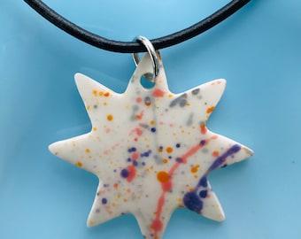 White Star on black Leather cord Pendant.Rainbow  Star Necklace .Porcelain White Star Pendant.Adjustable Black Leather Cord