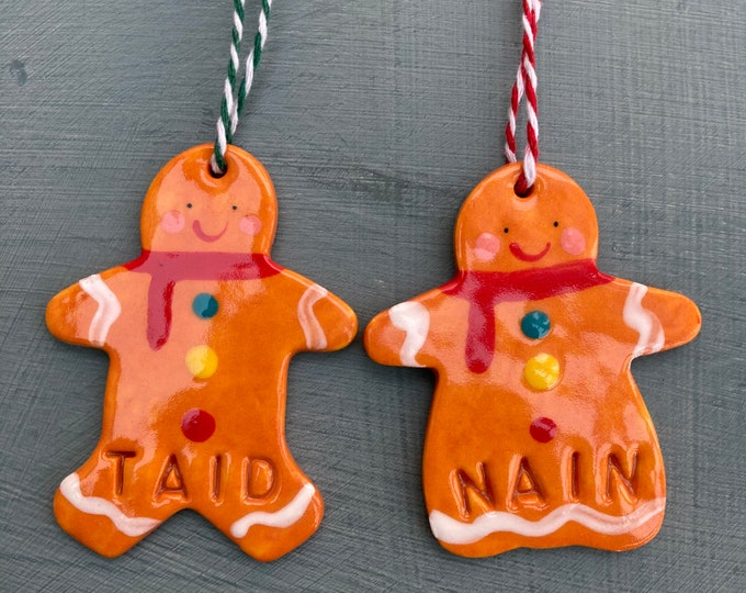 Featured listing image: Welsh Christmas gift.Nain /Taid.Gingerbread Man/ Lady .Hanging Decorations.ornament/Christmas decorations.Handmade in Wales,Uk