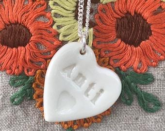 Anti Ceramic Heart Pendant Heart .Welsh language.Anti /Aunty Necklace Porcelain heart Pendant.Welsh gift idea.Handmade Made in Wales,Uk.