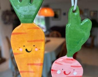 Carrot and Radish Decoration set.1 Ceramic Carrot and 1 radish.Tree Decoration.Porcelain Ornament.Vegetable decoration set.