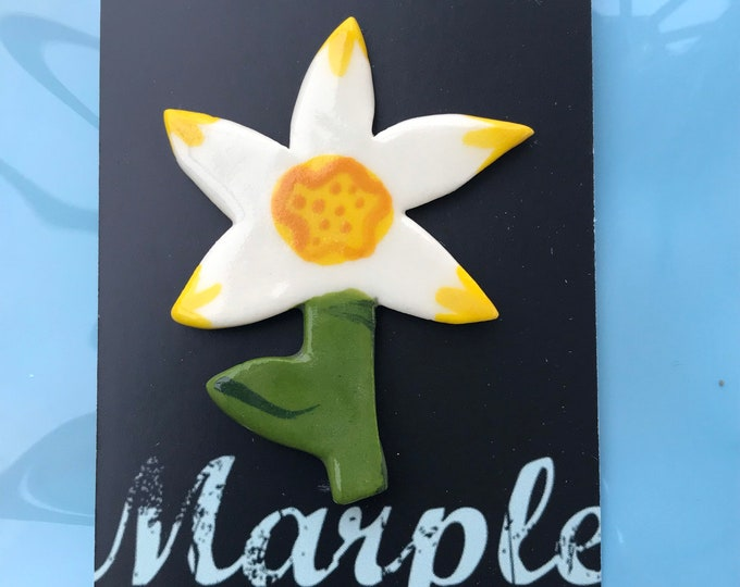 Featured listing image: Daffodil Brooch/pin/button/badge.Flower brooch.Ceramic/Porcelain.St.Davids Day Badge.Flower jewellery.Handmade in Wales ,Uk