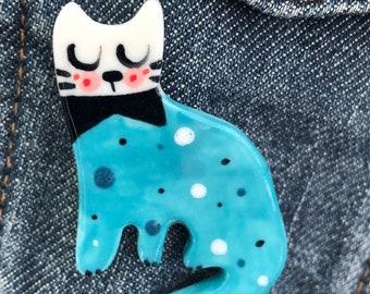 Cat Brooch.Large Blue/Pink Ceramic Cat badge.Porcelain cat badge Handmade.Wales,Uk