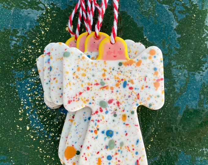 Featured listing image: Angel Christmas Tree Decoration set.Angel Hanging Porcelain Decorations.Handmade.Christmas gift