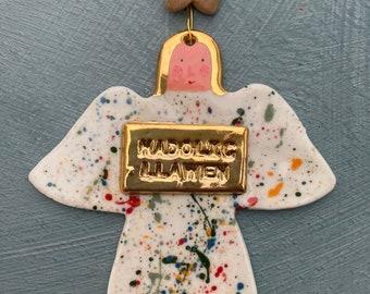 Large Welsh Angel decoration with nadolig llawen/Heddwch vintage button.GOld lustre.Porcelain Angel.Handmade Welsh Christmas tree decoration