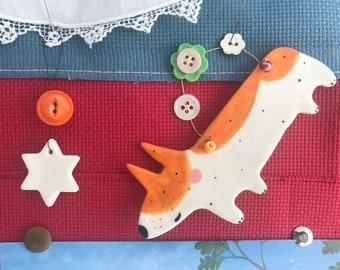 Corgi  Decoration.Hanging Ceramic Decoration/ornament.Christmas Tree Decoration.Dog lover.Corgi dog.Handmade in uk