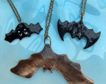 Bat Pendant /Happy Halloween Jewellery /Handmade Porcelain Bat Pendant/Made in Wales,Uk
