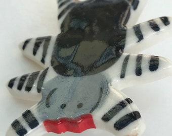 Spider Brooch/pin/button/badge.Ceramic/Porcelain Spider badge.Handmade in Wales ,Uk