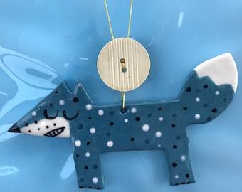 Fox Decoration.Ceramic Fox.Blue/Orange/Green and Red Fox Hanging Porcelain Ornament.Christmas Decoration/ornament.