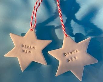 Welsh Star Decorations.Seren Wen /Dawel Nos.Christmas tree decorations/ornament.Stocking Filler.Hand painted.Welsh Language.Handmade Wales