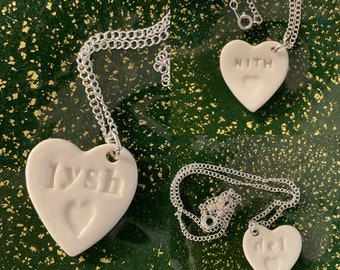 Lysh, Del and Nith Heart Pendant.Ceramic Welsh Love Heart Necklace .Porcelain Heart