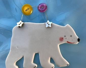 Polar Bear Decoration.Hanging Ceramic Polar Bear/Isbjørn illustration.Christmas Decoration/ornament.Porcelain ornament/Made in Wales,Uk