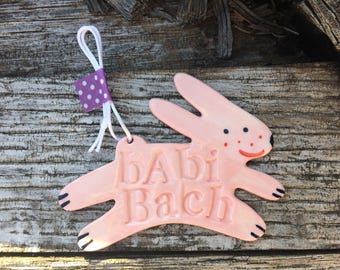 Welsh Baby Girl Gift.Babi Bach.Pink Baby Rabbit Decoration/Hanging Porcelain Rabbit/Ceramic Decoration/ornament.Christening Gift/Baby