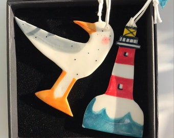 Seagull and Lighthouse Decoration.Ceramic Nautical Decoration.Seaside porcelain Ornament.Handmade summer gift.