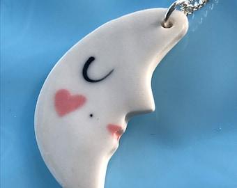 Porcelain Moon Face Pendant.Moon  Necklace /art deco style.Silverplated chain.Ceramic Pendant.Handmade Porcelain Pendant.