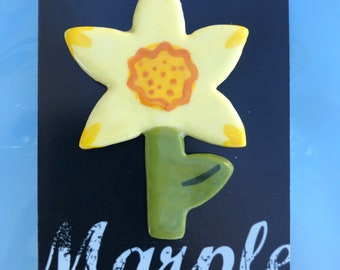 Daffodil Brooch/pin/button/badge.Flower brooch.Ceramic/Porcelain.St.Davids Day Badge.Flower jewellery.Handmade in Wales ,Uk