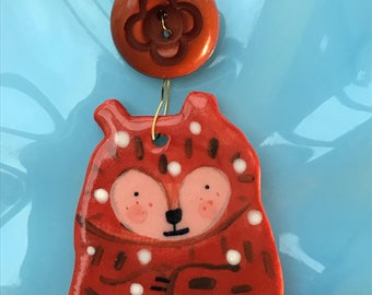 Grizzly Bear Decoration.Hanging Ceramic Bear Decoration .Bear illustration.Christmas Decoration/ornament.Porcelain ornament/Made in Wales,Uk