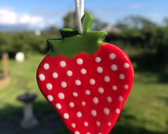Strawberry Decoration.Ceramic Hanging Decoration.Fruit ornament .kitsch decorations.Porcelain hanging decorations.Made in Wales uk