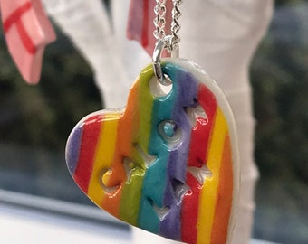 Rainbow Calon Lan Ceramic Heart Pendant.Calon Lan.Welsh Love Heart Necklace .Porcelain Heart Pendant.Rainbow jewellery .