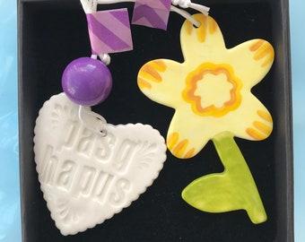 Welsh Easter porcelain decoration set. Pasg Hapus Heart Decoration.Porcelain Daffodil and heart decoration .Gift box.Handmade in Wales.welsh