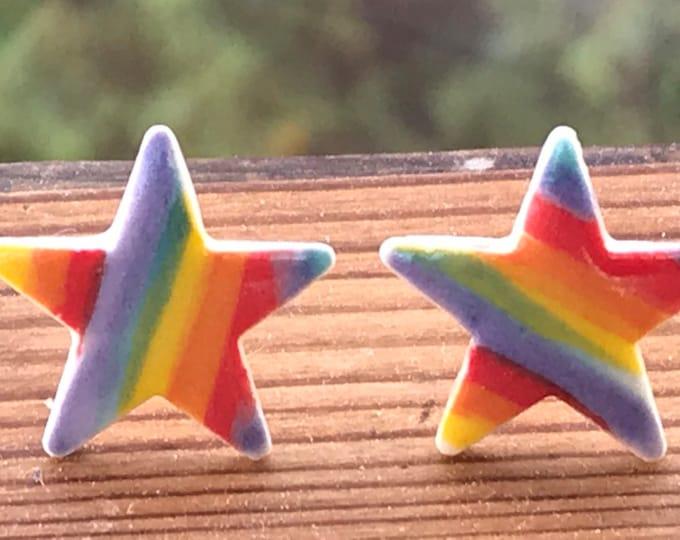 Featured listing image: Rainbow Star Stud Earrings/Sterling Silver Stud Earrings/Rainbow Jewellery /Handmade Porcelain Heart Earrings /Made in Wales,Uk